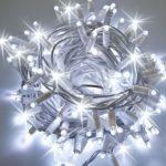 Guirnalda led luz blanca cable blanco y destellos