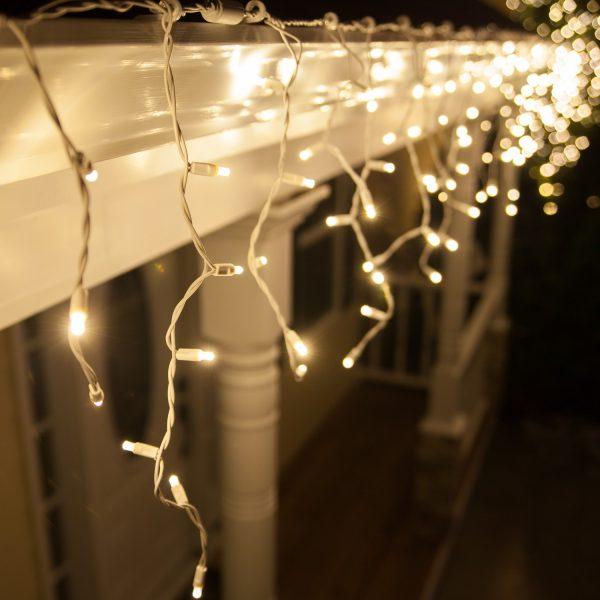 Cortina icicle led blanco cálido